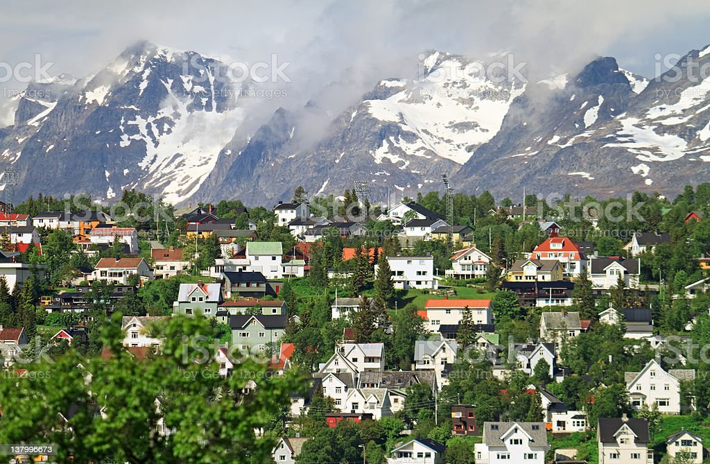 Mountain town Tromso, Norway stock photo