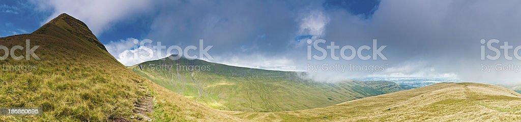 Mountain trail green peaks Brecon Beacons Wales UK stock photo
