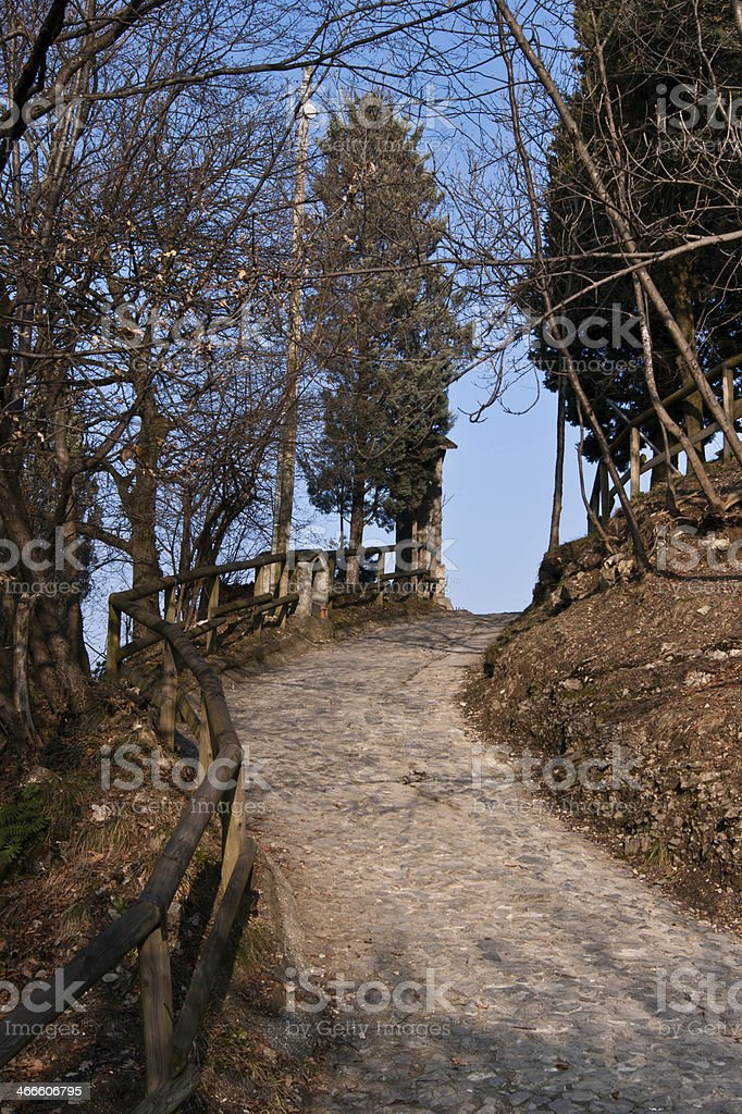 Mountain Trail in early spring stock photo