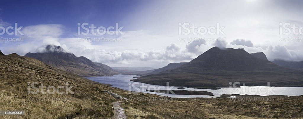 Mountain trail Loch Lurgainn Scotland stock photo