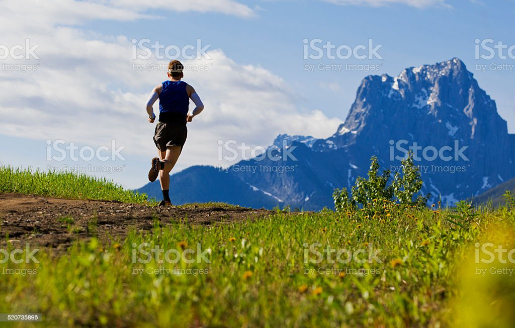 Mountain Trail Runner stock photo