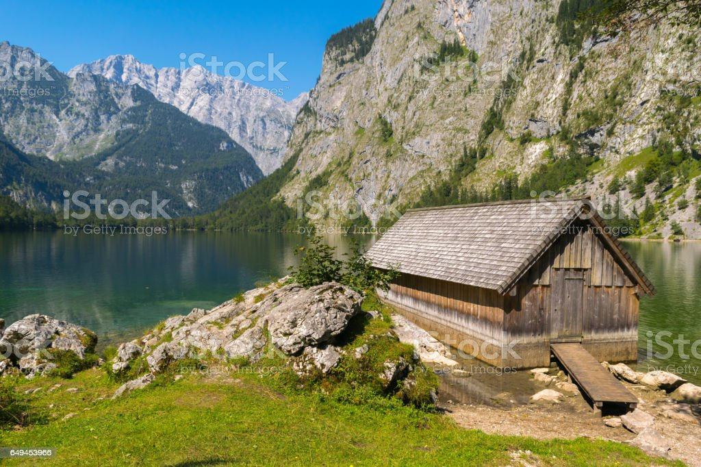 Mountain trail, Water reflections Obersee Lake, Bavaria, Germany, Europe stock photo