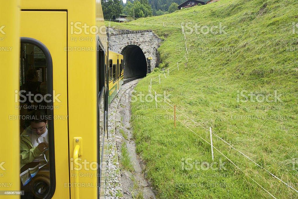 Mountain train in Jungrau Region royalty-free stock photo