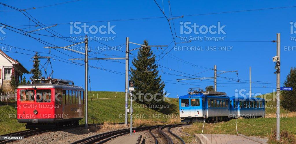 Mountain trains on Mt. Rigi in Switzerland stock photo