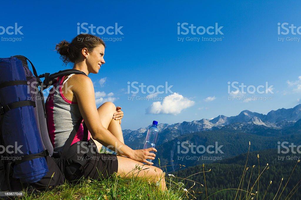 mountain trekking break stock photo
