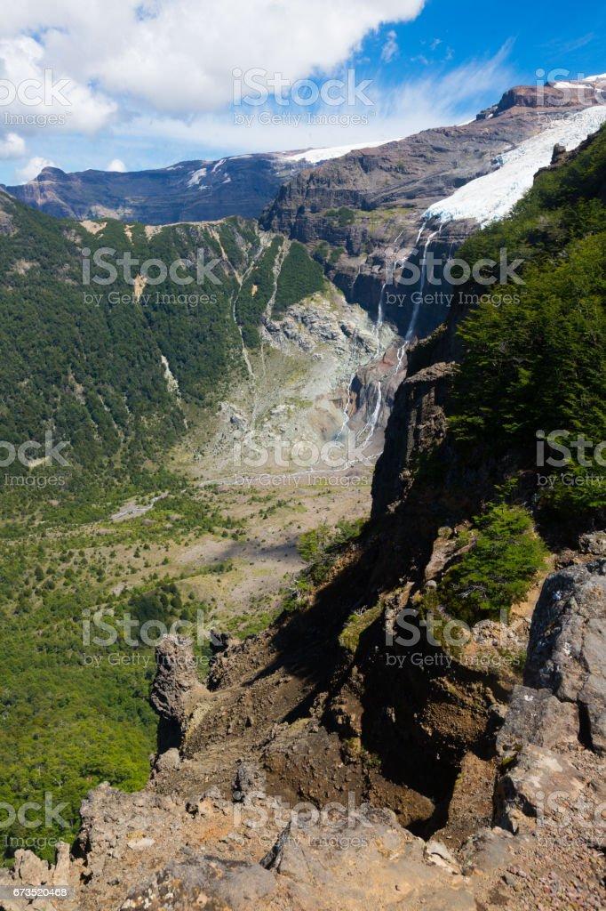 Mountain Tronador and glaciers of Alerce and Castano Overa stock photo