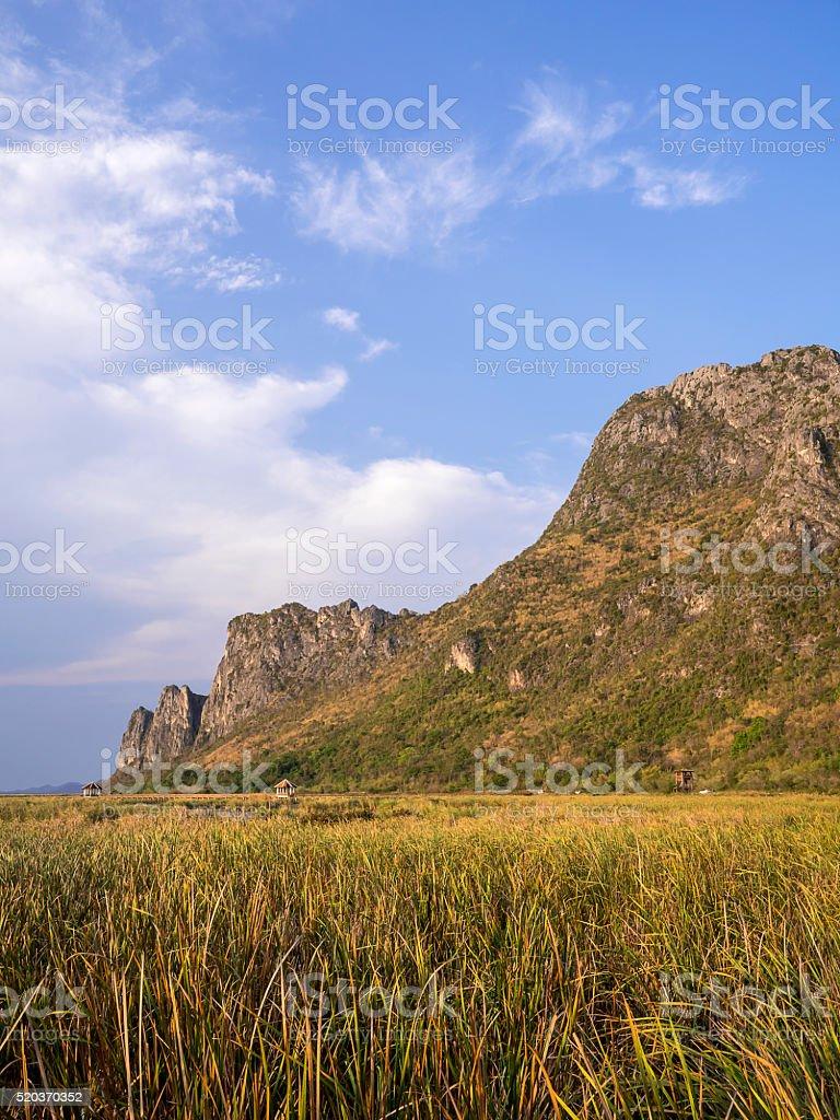 Mountain under blue sky 3 stock photo
