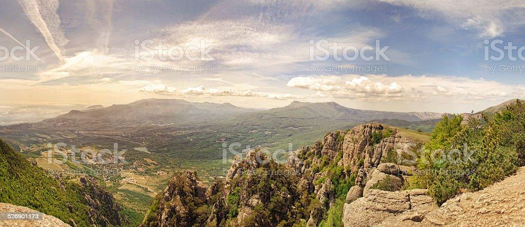 Mountain valley at dawn Valley Demerji stock photo