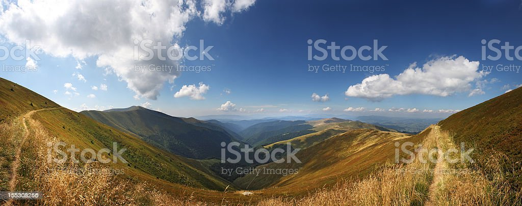 mountain valley Borzhava, Carpathian Mountains, Ukraine stock photo