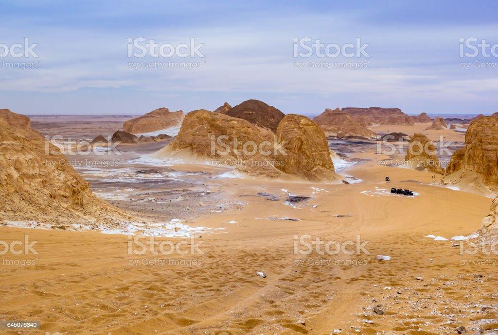 Mountain valley El-Agabat in White Desert, Egypt. stock photo