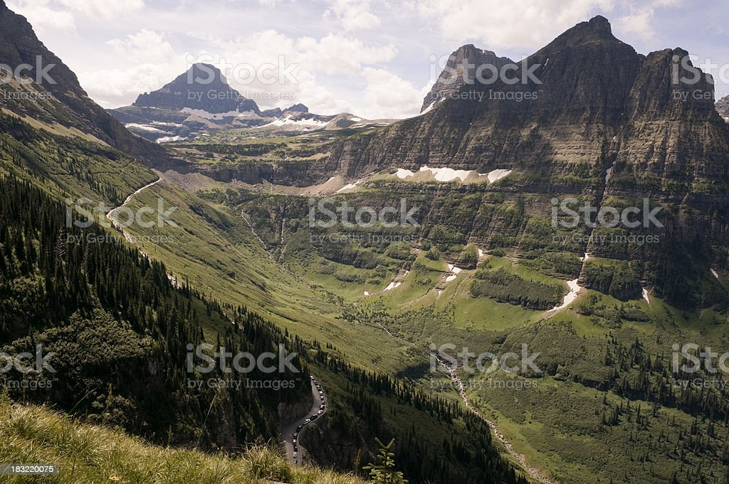 Mountain valley in Glacier National Park stock photo