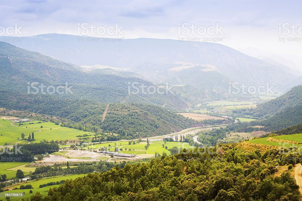 mountain valley in Pyrenees stock photo