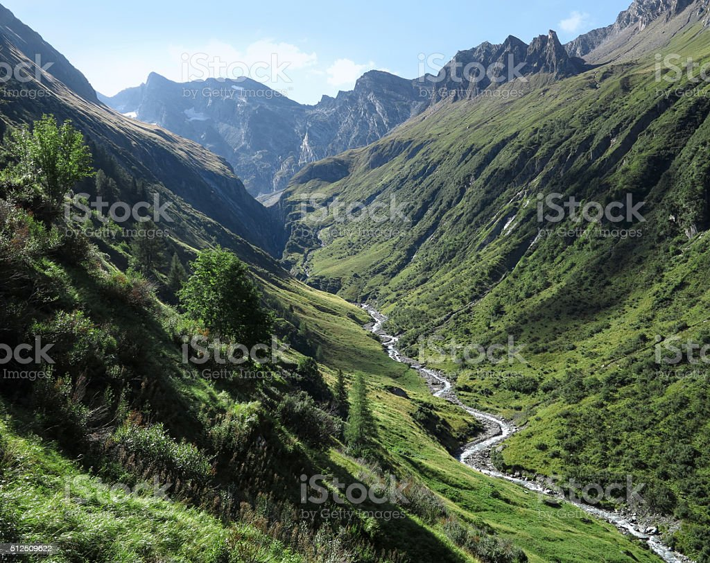 Mountain valley in summer stock photo