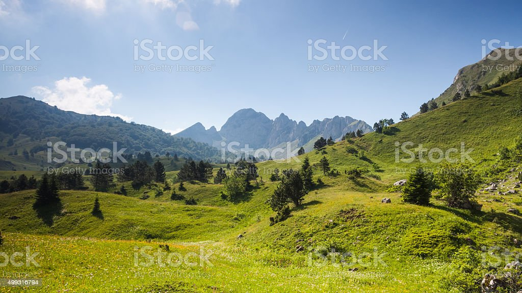 Mountain valley in summertime stock photo
