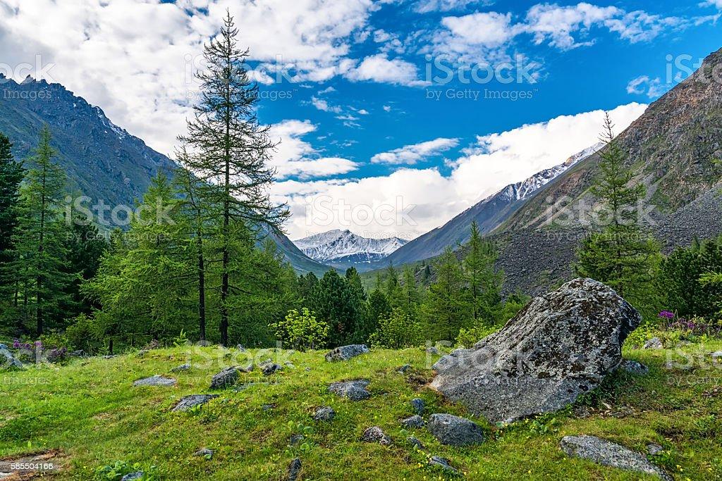 Mountain valley in Tunka range stock photo