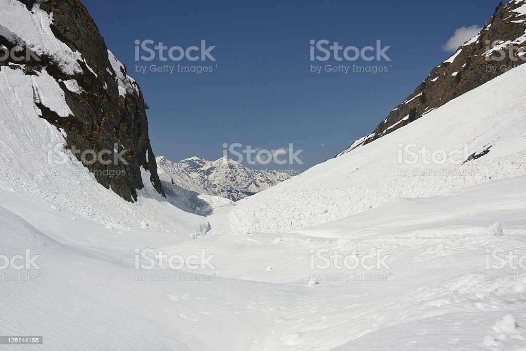 Mountain Valley With A Lot Of Snow stock photo