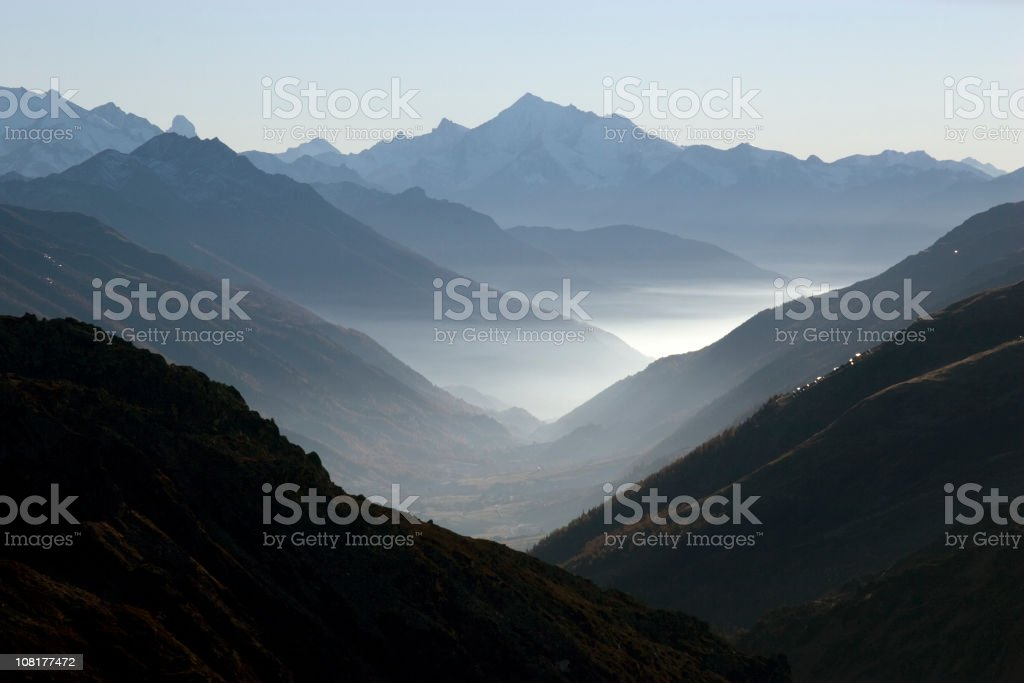 Mountain Valley with Fog royalty-free stock photo