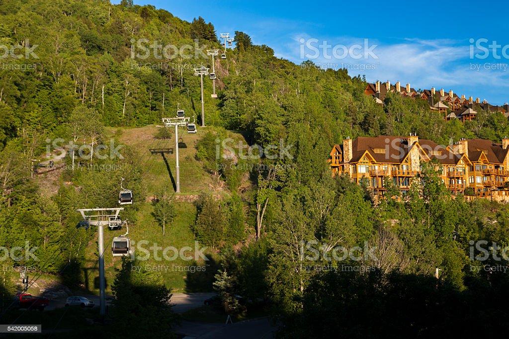 Mountain View at Mont Tremblant Quebec stock photo