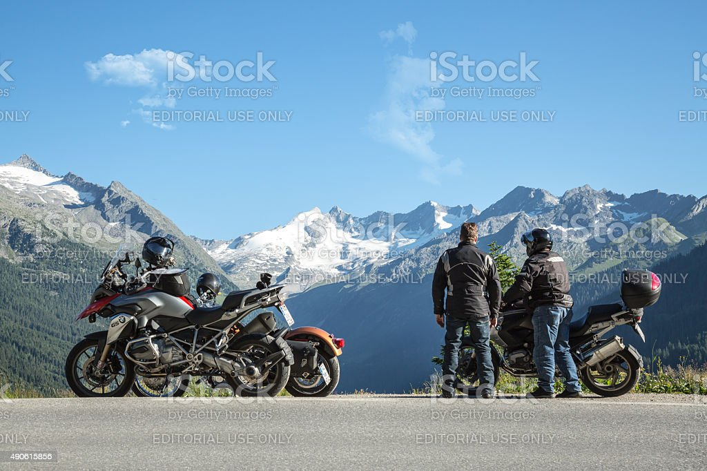 Mountain View Austria touring with motorcycles stock photo
