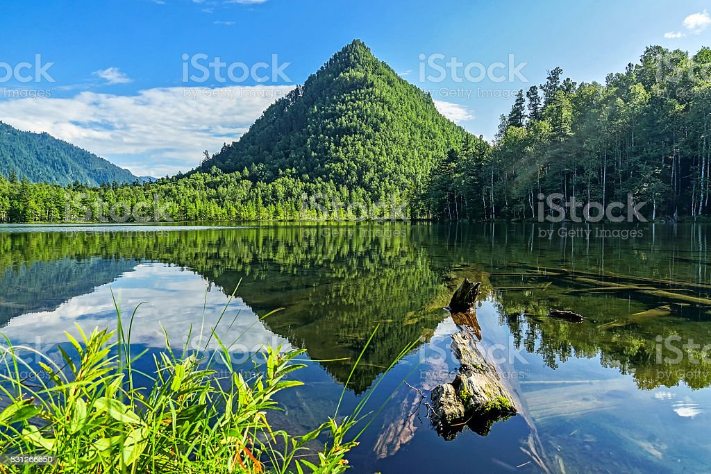 Mountain view Cap of Monomakh stock photo
