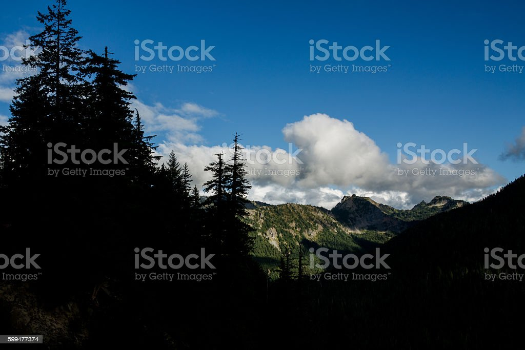 Mountain View Clouds and Cliffs stock photo