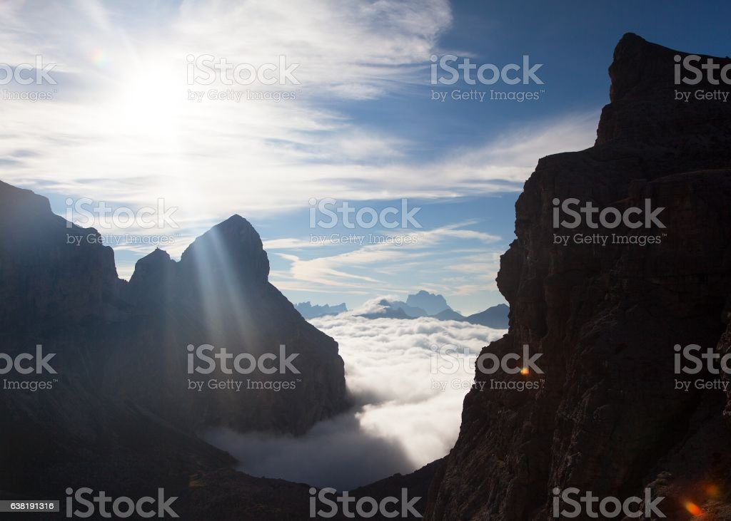 Mountain view from Alps Dolomites Mountains stock photo
