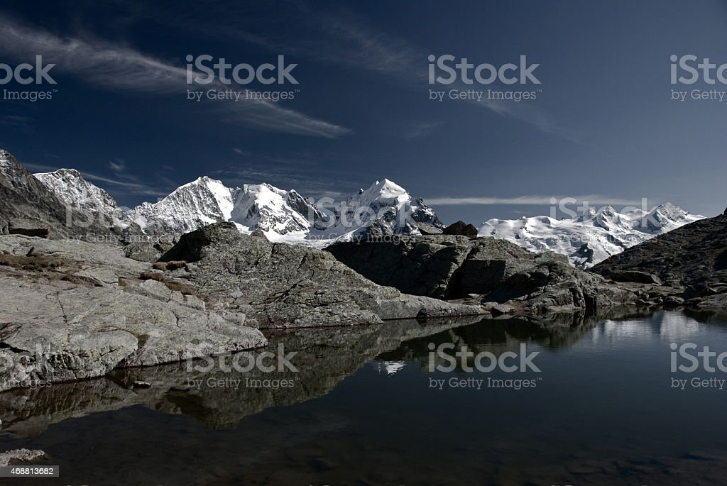 mountain view from Fuorcla Surlej stock photo