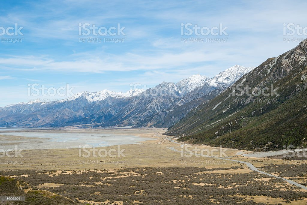 Mountain View from Tasman Valley Walk Track, Aoraki, New Zealand stock photo