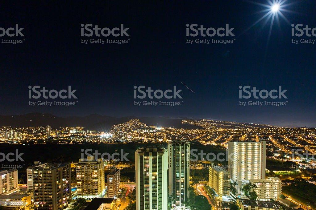 Mountain View from Waikiki 5 stock photo