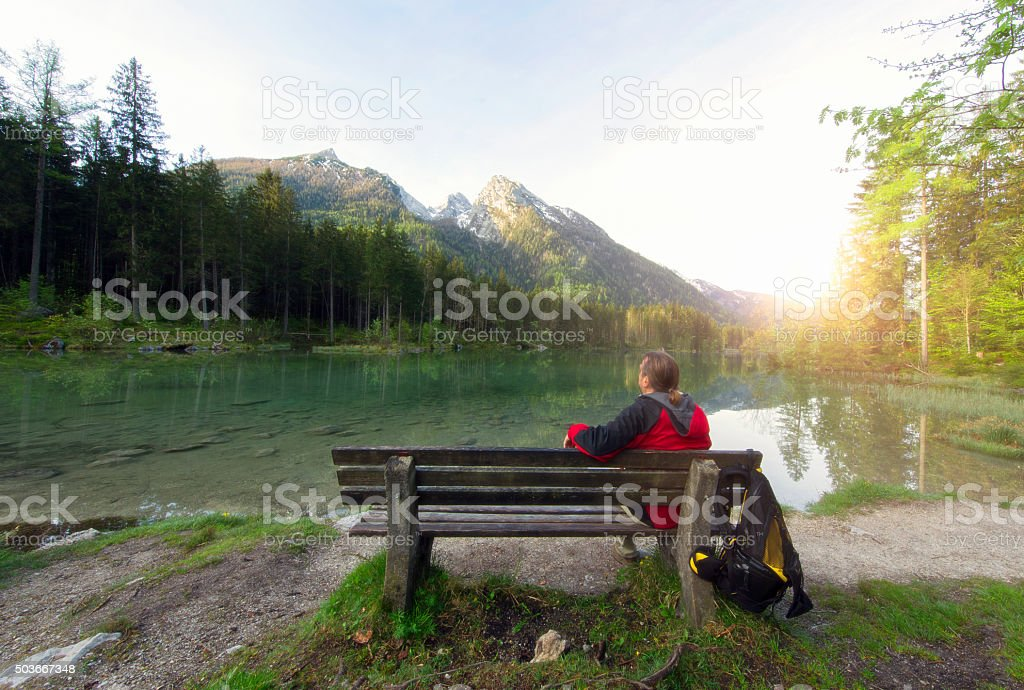 Mountain View in alps at Hintersee stock photo