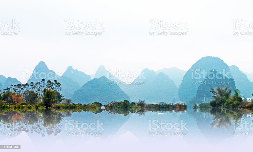 Mountain view in Yangshuo,China stock photo