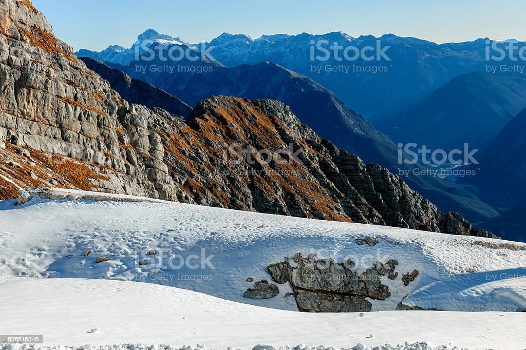 Mountain View Julian Alps  from Kanin,Primorska,Slovenia, Europe. stock photo