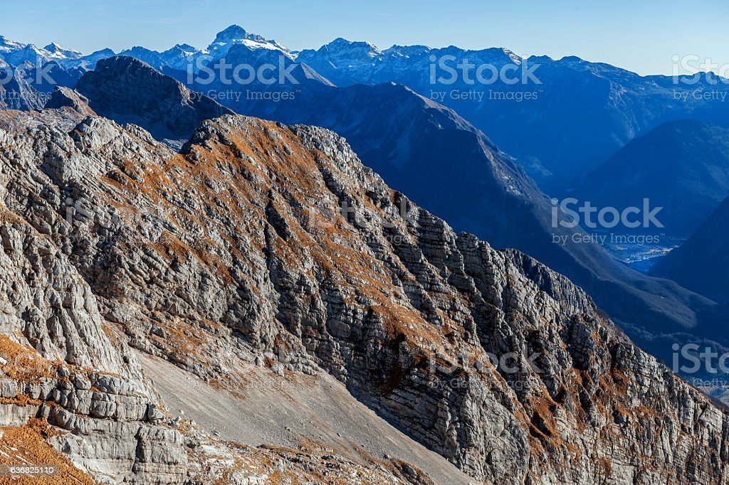 Mountain View Julian Alps  from Kanin,Primorska,Slovenia, Europe. stock photo