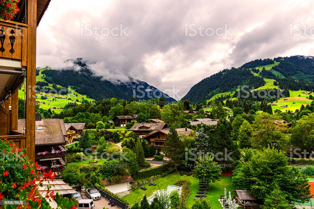 Mountain view of Gstaad stock photo