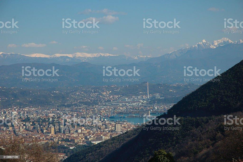Mountain view of La Spezia city royalty-free stock photo