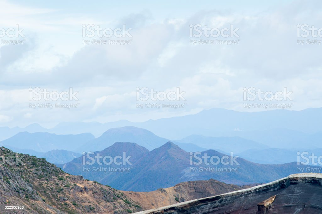 Mountain view on a day in October in Japan stock photo