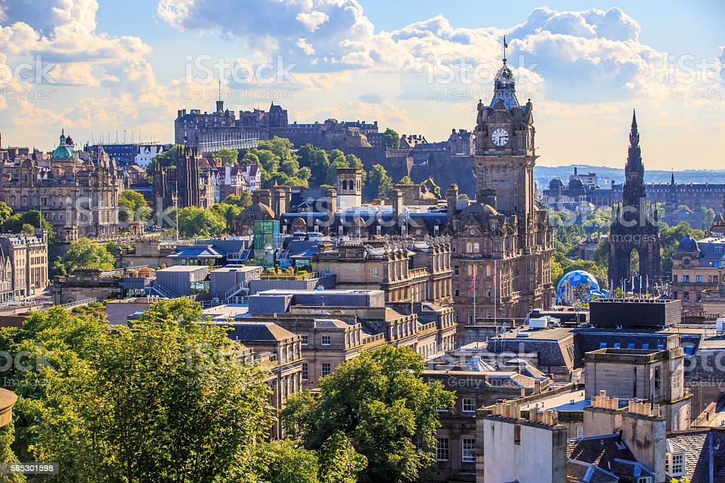 Mountain view point over Edinburgh city. stock photo