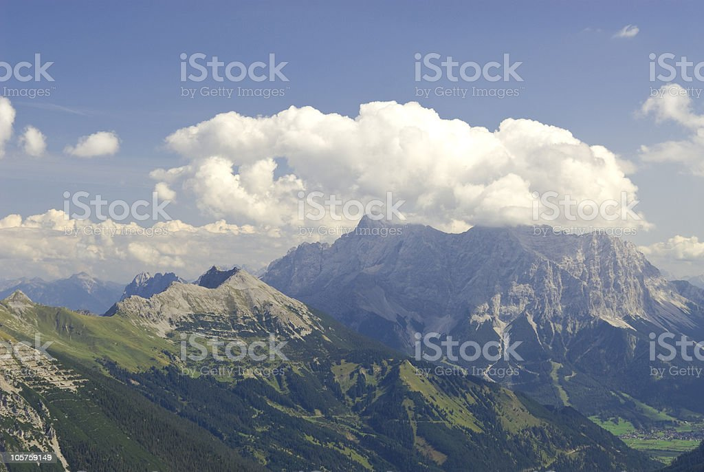"Mountain view to the ""Zugspitze"" stock photo"
