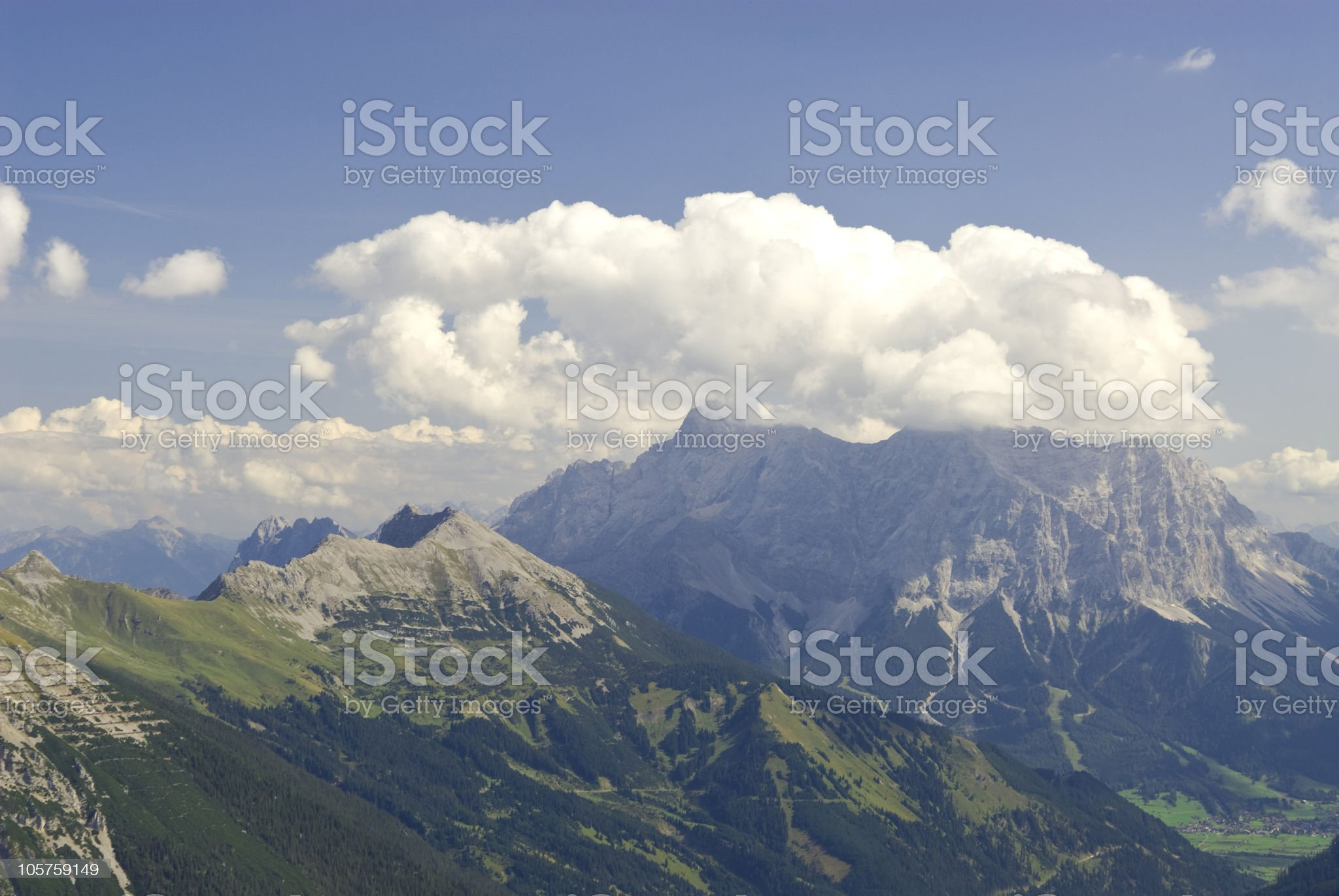 """Mountain view to the """"Zugspitze"""" royalty-free stock photo"""