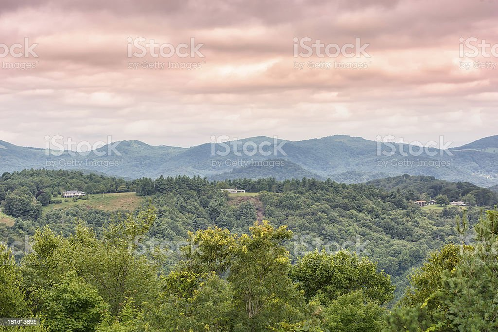 Mountain view with houses at the high elevation stock photo