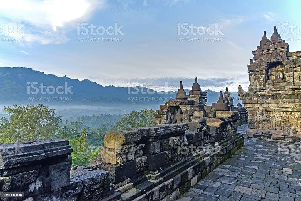 Mountain views from Borobudur Temple stock photo