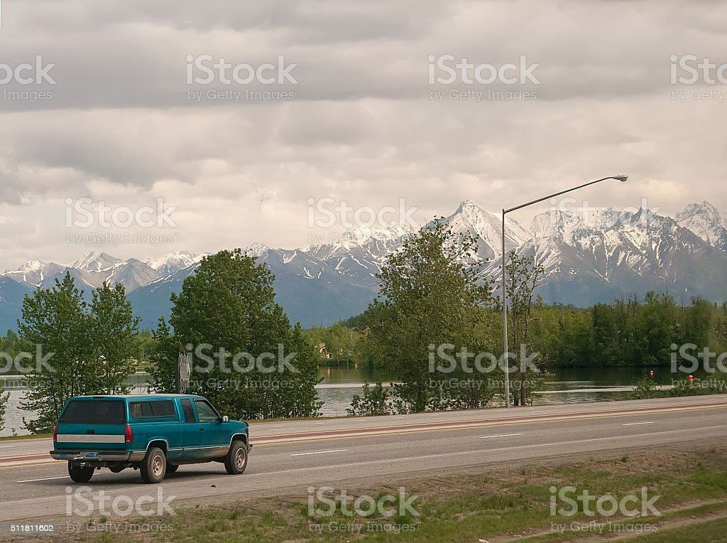 Mountain Views in Wasilla, Alaska stock photo