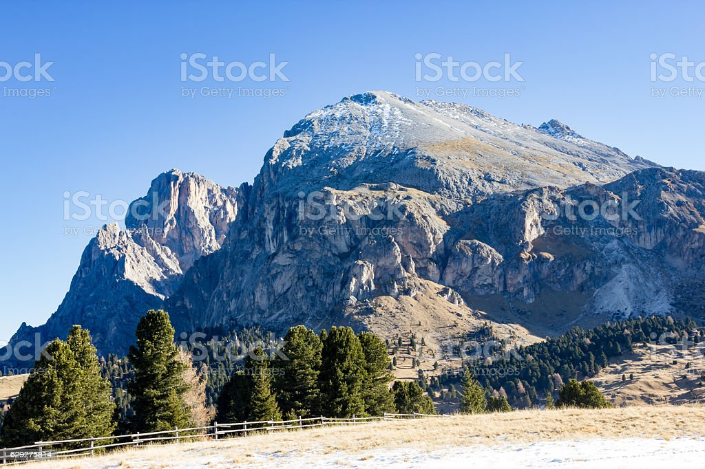 Mountain views of Alpe di Siusi stock photo