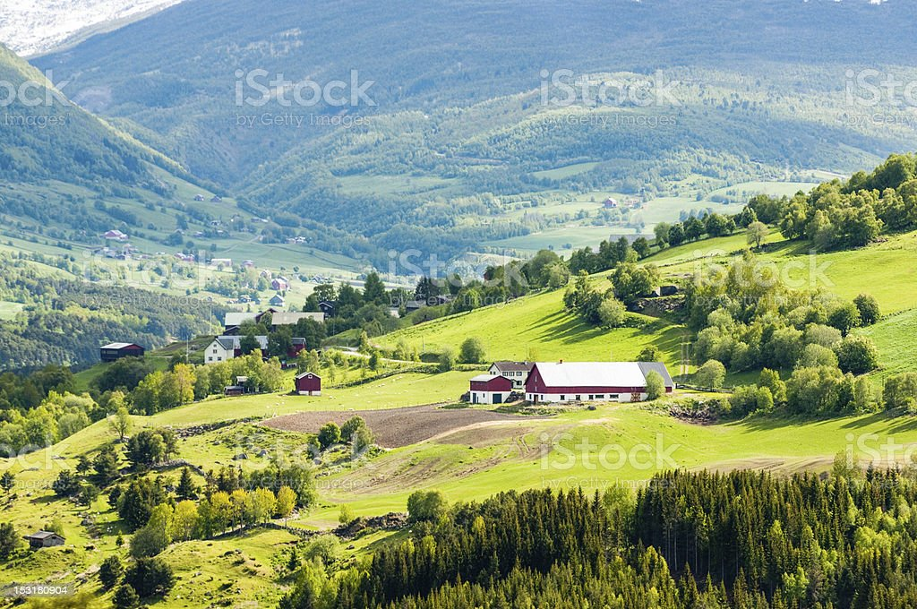 Mountain village and farm in Norway stock photo
