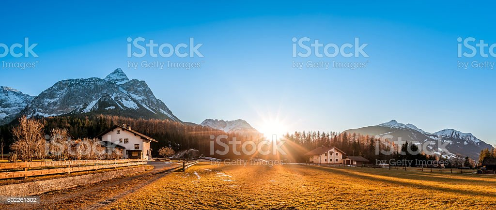Mountain village at the foot of the Austrian Alps stock photo