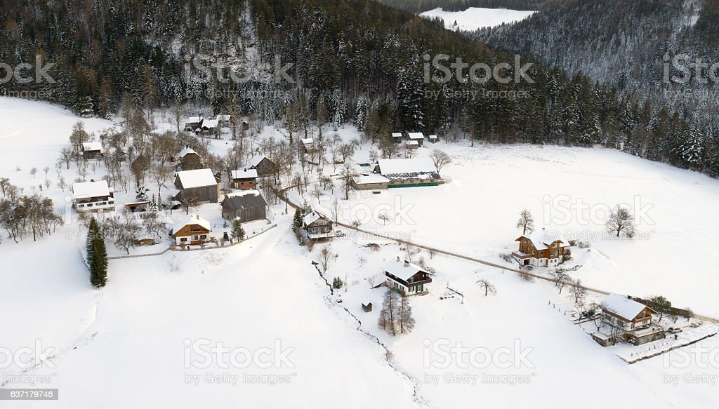Mountain Village covered with Snow stock photo