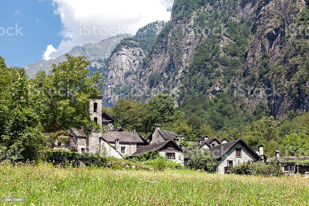 Mountain village Foroglio stock photo