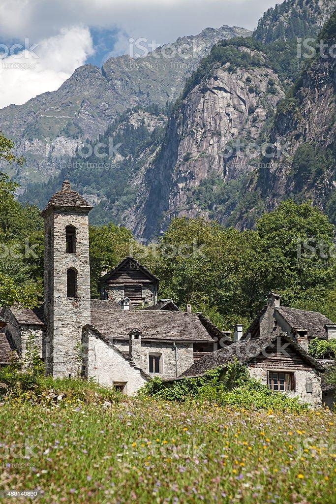 Mountain village Foroglio stock photo