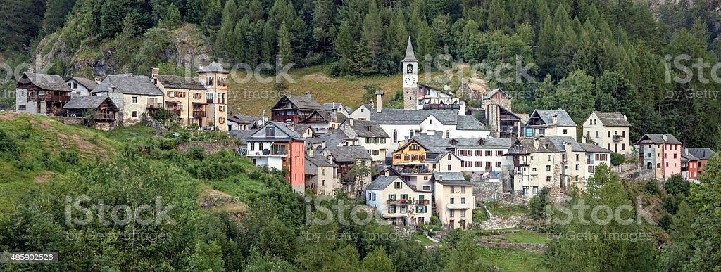 Mountain village Fusio in the Maggia Valley stock photo
