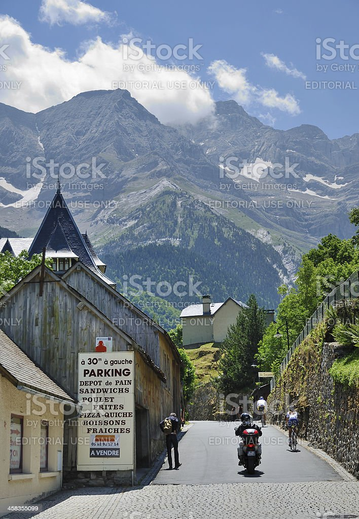 Mountain village Gavarnie in the Pyrenees stock photo